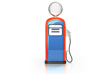 3d rendering front view of blue-orange retro gasoline dispenser pumps isolated on white background with clipping paths. Banco de Imagens