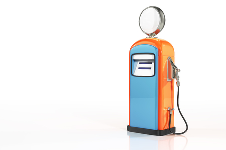 3d rendering of blue-orange retro gasoline dispenser pumps isolated on white background with clipping paths.