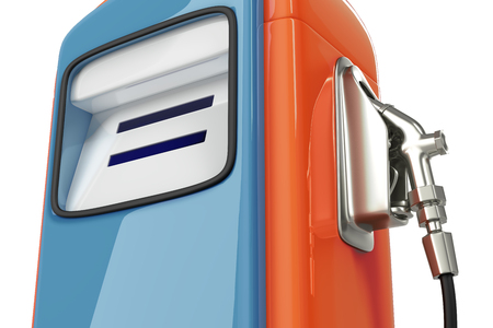 3d rendering close-up shot of vintage blue-orange gas pump dispenser isolated on white background with clipping paths. Banco de Imagens