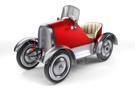 3d rendering concept design of red retro pedals car isolated on white background with clipping paths.
