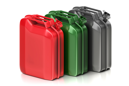 3d rendering geometric a set of red, green and metal jerry cans isolated on white background with clipping paths.
