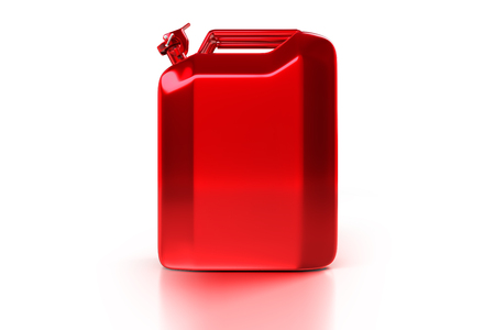 3d rendering side view of the red Jerry can retro gasoline canister isolated on white background with clipping paths.