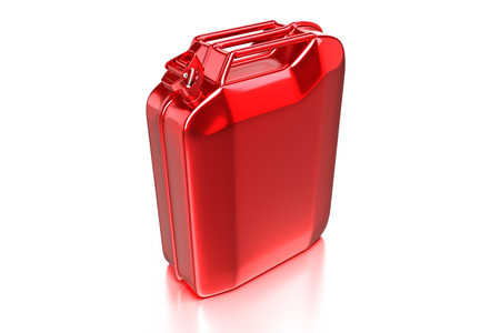 3d rendering of the red Jerry Can, retro gasoline canister isolated on white background with clipping paths.