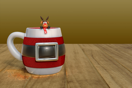3d rendering of coffee time with a Christmas mug with small reindeer on a wooden table top with clipping paths.