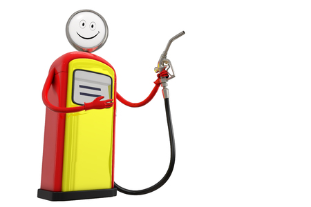 3d rendering of gasoline dispenser pump with smiling face character holding a gas nozzle, isolated on white background with clipping paths. Banco de Imagens