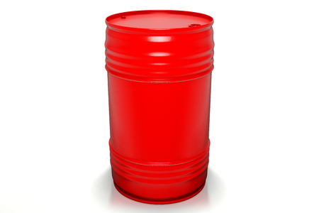3d rendering of 200 liters red oil barrels isolated on white background with clipping paths.