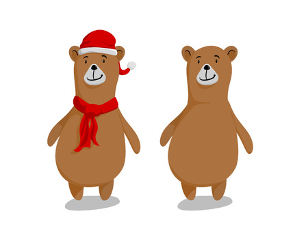cute adorable bears wearing a Santa red hat and a scarf isolated on white background.
