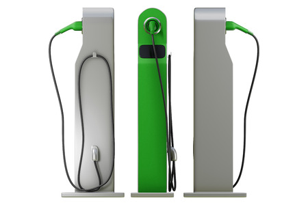 3d rendering front, left, right view of a set of green charging modern electric car station isolated on white background with clipping paths.