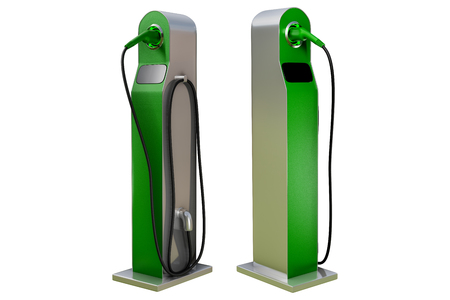 3d rendering a set of green charging modern electric car station isolated on white background with clipping paths. Banco de Imagens