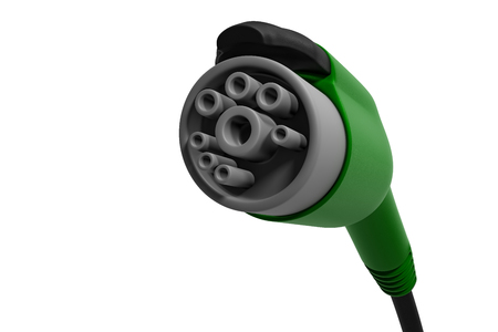 3d rendering close up shot of green electric car charging handle isolated on white background with clipping paths.