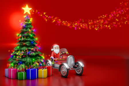 3d rendering of Christmas tree with lighting decoration and colorful gift boxes with Santa doll on the pedal car on the red reflection background.