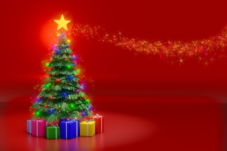 3d rendering of Christmas tree with lighting decoration and colorful gift boxes on the red reflection background.