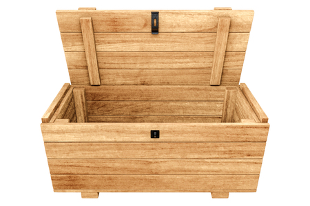 3d rendering of opened Pallet wooden chest isolated on white background with clipping paths.