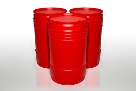 3d rendering of a group of 200 liters red oil barrels isolated on white background with clipping paths.