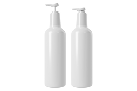 3d rendering a set of skincare white plastic bottle isolated on white background with clipping paths. Banco de Imagens