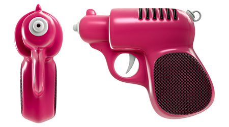 3d rendering a set of mini retro pink water gun, front and side view, isolated on white background with clipping paths.