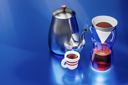 3d rendering of drip coffee set on blue metal reflection background.