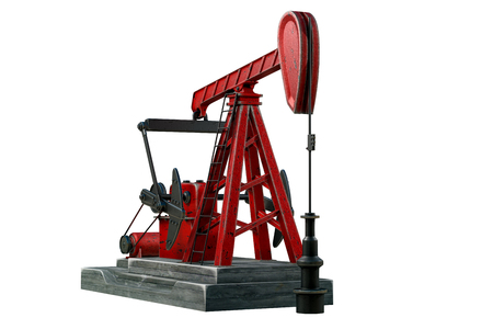 3d rendering of oil pump jack or nodding horse pumping unit, isolated on white background with clipping paths. Banco de Imagens
