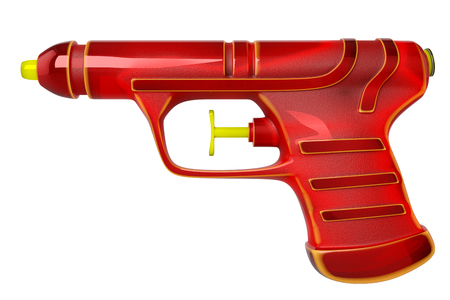 3d rendering of red pistol water gun for Songkran Festival, isolated on white background with clipping paths. Banco de Imagens