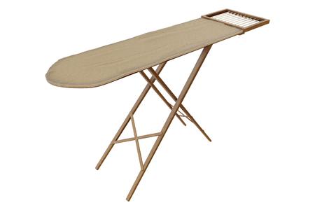 Representación 3D de la vieja tabla de planchar de madera vintage aislada sobre fondo blanco con trazados de recorte.