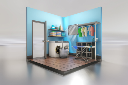 3d rendering of the laundry room interior design with washing machine with ironing board on a white reflective background.