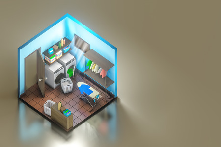 3d rendering isometric shot of the laundry room interior design with washing machine with ironing board.