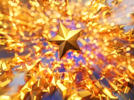 3d rendering golden stars moving on blur bokeh background with creative zooming effect. Banco de Imagens