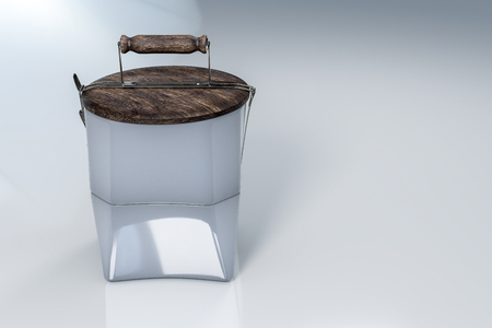 3d rendering of reusable tiffin ceramic bowls and wood lid as a plate on top, on white reflective background with clipping paths.