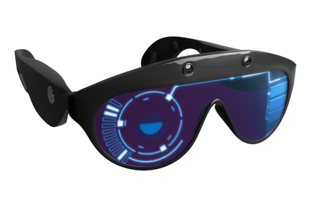 3d rendering Virtual Reality VR styling glasses with HUD graphic, isolated on white background with clipping paths. Stock Photo