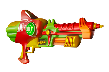 3D rendering of water gun red, green, yellow isolated on white background with clipping paths for Songkran festival in Thailand. Banco de Imagens