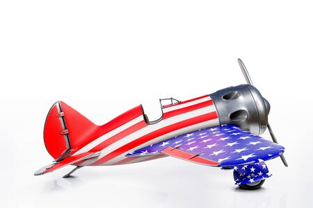 3d rendering side view of Polikarpov Vintage airplane with stars and stripes, the 4th of July Independence day United States of America concept, isolated on white background with clipping paths.