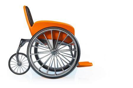 3d rendering side view of orange modern sports wheelchair isolated on white background with clipping paths.
