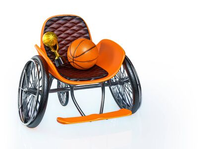 3d rendering of orange modern sports wheelchair with golden trophy and basketball on top, isolated on white background with clipping paths.