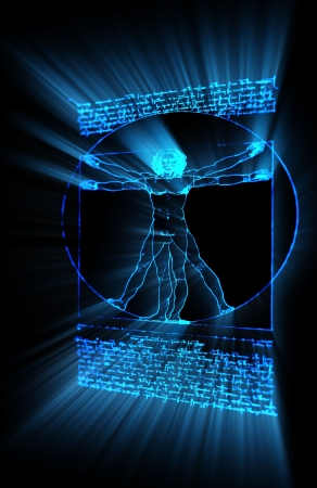 da vinci: Vitruvian Man in neon made in 3D Stock Photo
