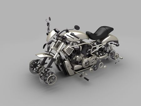bike parts: disassembled motorcycle made in 3D