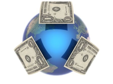 Dollar, covering the Earth made in 3D 2 Stock Photo - 5694504