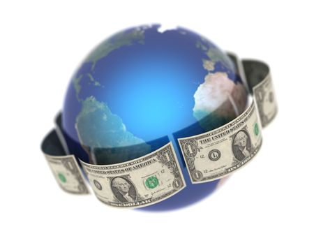 bribery: Dollar, covering the Earth made in 3D Stock Photo
