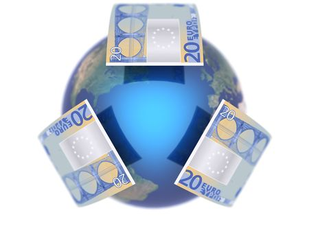 Euro, covering the Earth made in 3D 2 Stock Photo - 5694501