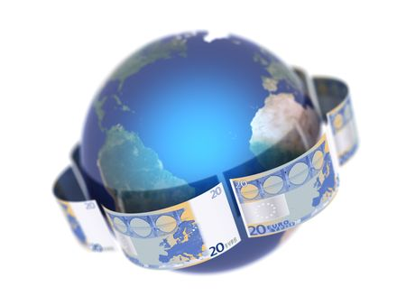 Euro, covering the Earth made in 3D Stock Photo - 5694500