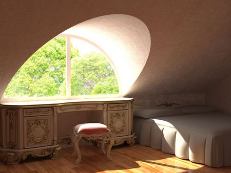 fragment of baroque interiors made in 3d photo