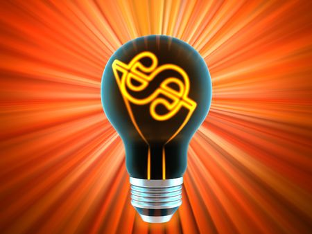 bulb, which represents the profitable idea made in 3D photo