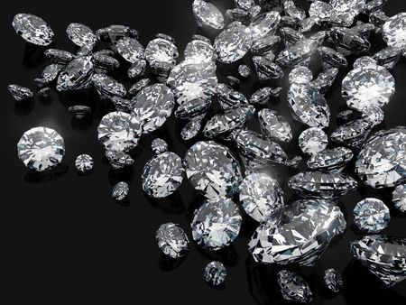 diamond stone: a lot of diamonds, scattering across the black Stock Photo