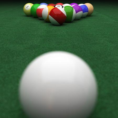 targeting billiard balls on green Stock Photo - 5816712