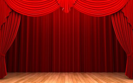 playhouse: Red velvet curtain opening scene   Stock Photo