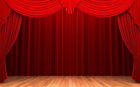 Red velvet curtain opening scene   photo