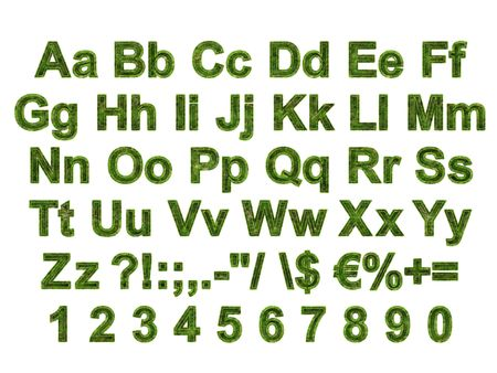 Arial Black Alphabet stylized to grass photo