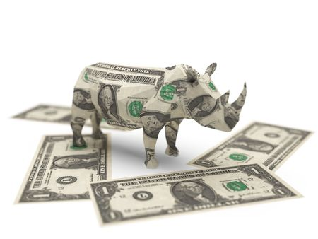 dollar origami rhino Stock Photo - 5922696