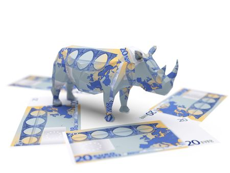 euro origami rhino Stock Photo - 5922694