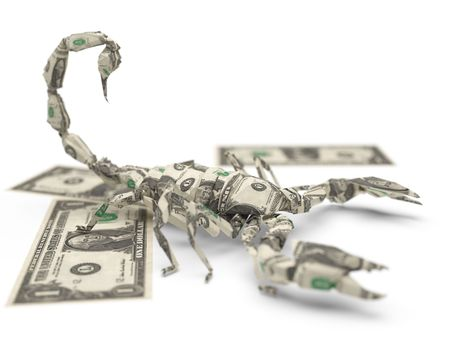 dollar origami scorpion Stock Photo - 5922695