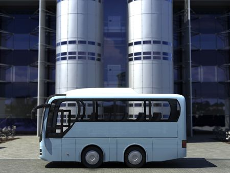 funny concept bus at the office building   photo
